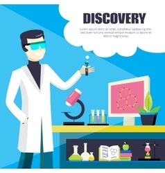 Scientist and laboratory discovery vector