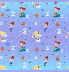 Seamless background with mermaid and sea animals vector