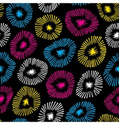 seamless pattern with flowers on black back vector image