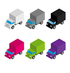 Set of colored and gray isometric 3d cargo trucks vector