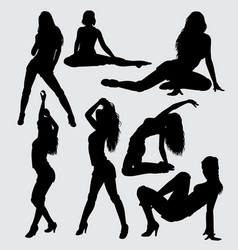 sexy lady action silhouette vector image vector image