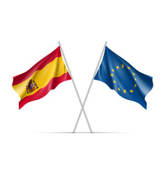 Spain and european union waving flags vector