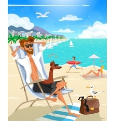 Summer Holiday Man On Beach vector image