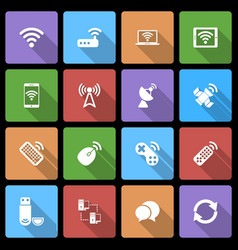 Wireless Devices Icons Set with Long Shadow vector image