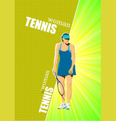 woman tennis r poster colored for designers vector image vector image