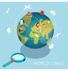 World Links Global communication via aircraft and vector image vector image