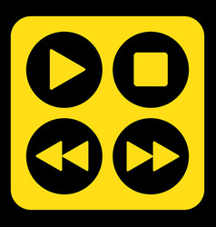 Yellow black sign - four music control buttons vector