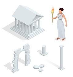 Isometric greek temple greek goddess of beauty vector