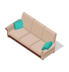 Beige sofa in isometric projection vector