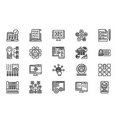 Web development line icon set vector