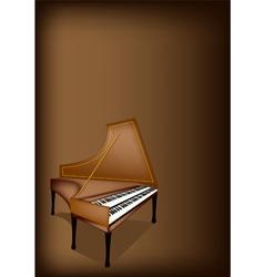 A retro harpsichord on dark brown background vector