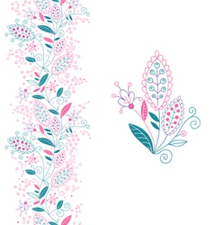 Seamless floral border and small bouquet vector