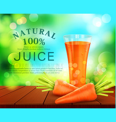 With a glass of carrot juice carrots standing on vector