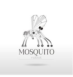Cybernetic robot mosquito drone logo icon vector