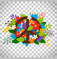 Peace symbol with flowers vector