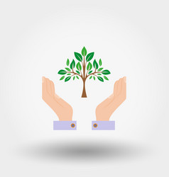tree in a hand sign of environmental protection vector image