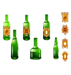 Set of bottle and label vector
