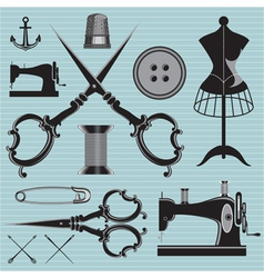 Set of items and equipment to topics tailor clothi vector