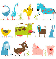 Brightly colored fun cartoon farm domestic animals vector