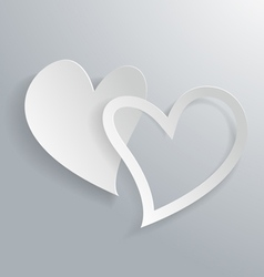 3d white paper hearts background vector