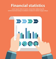 Business person analyzing financial statistics vector