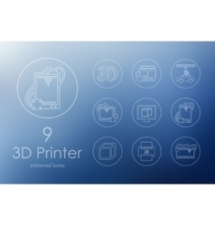 Set of three d printer icons vector