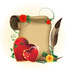 Old parchment and valentines hearts vector