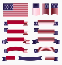 Red white blue american flag ribbons and banners vector