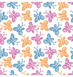 Seamless pattern background with cute butterflies vector