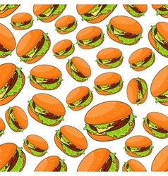 Seamless fast food pattern with burgers vector