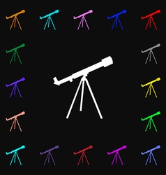 Telescope icon sign lots of colorful symbols for vector