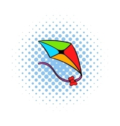 Flying kite icon comics style vector
