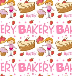 Seamless baker and cakes vector image
