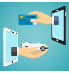 Hands with car and credit card vector