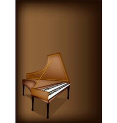 A Retro Harpsichord on Dark Brown Background vector image vector image