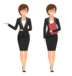 A young cartoon style smiling businesswoman vector