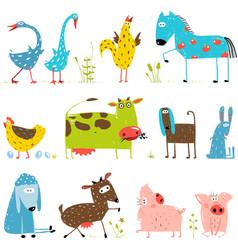 Brightly colored fun cartoon farm domestic animals vector