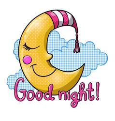cartoon sleeping moon in striped nightcap vector image