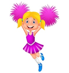 Cheerleader cartoon with Pom Poms vector image