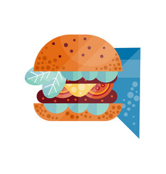 classic burger with letltuce tomato onion vector image