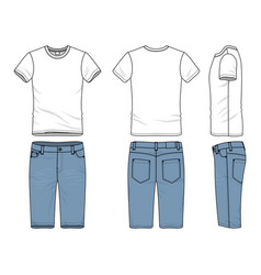 Clothing set of t-shirt and jeans vector