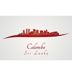 Colombo skyline in red vector image vector image