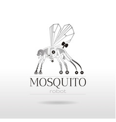 Cybernetic robot mosquito drone logo icon vector