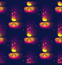 diwali seamless pattern diwali lamp bright vector image
