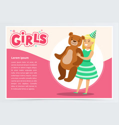 Happy girl holding big teddy bear cute kid vector