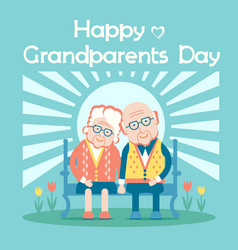 happy grandparents day with old people sit outdoor vector image