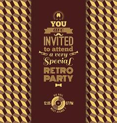 Invitation to retro party vintage retro geometric vector