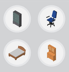 Isometric furniture set of bedstead cupboard vector