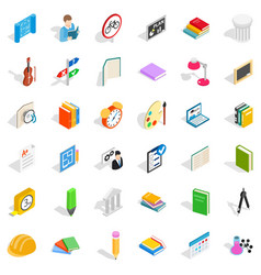 Lesson in college icons set isometric style vector