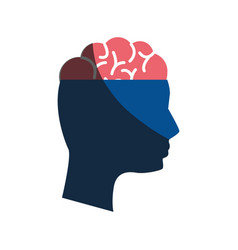 mental health silhouette person with brain vector image vector image